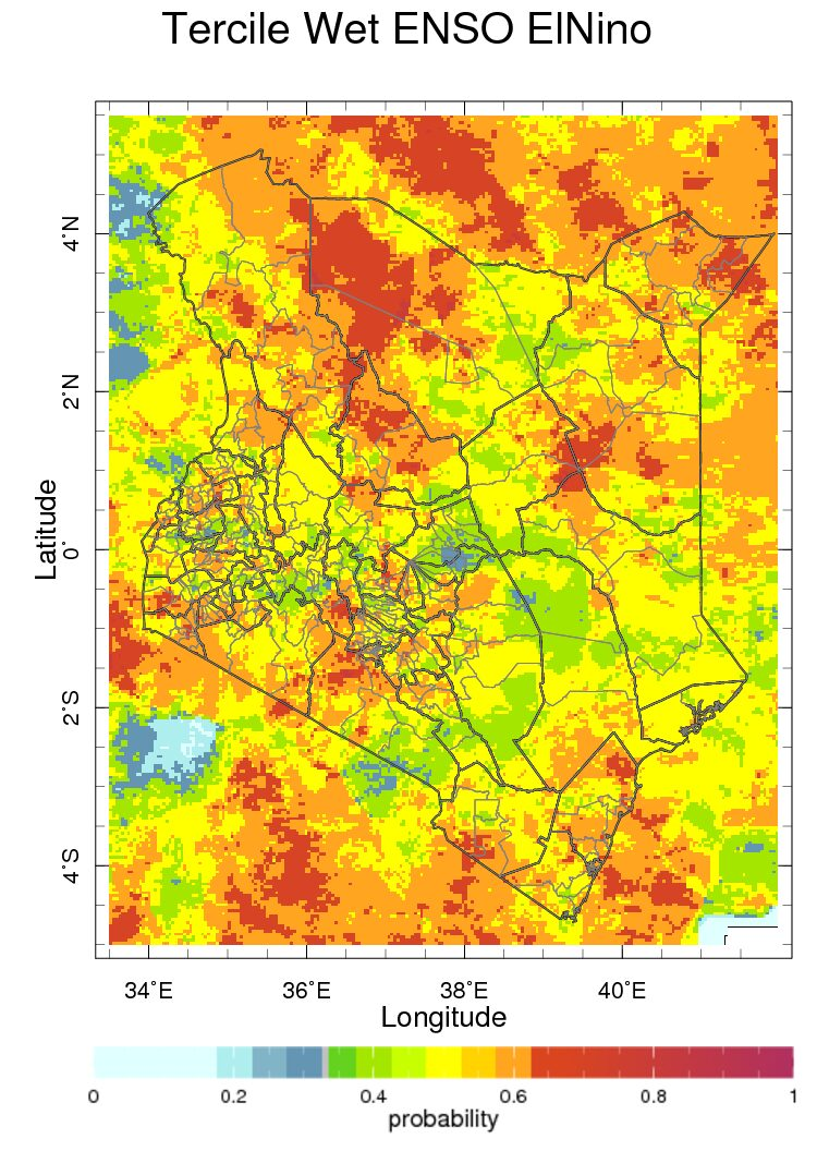Map of thehistorical probability of seasonal monthly averages conditioned on El Niño in Kenya for seasonal average rainfall for October to December season.