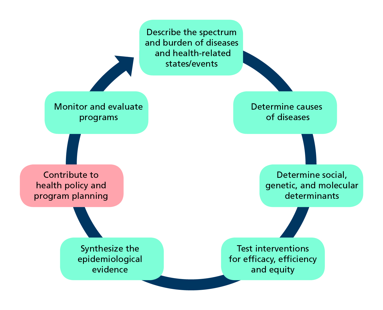 Diagrammatic representation of role of epidemiology in developing health policy and programmes